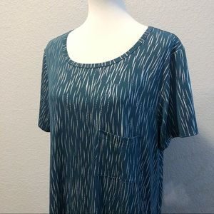 Lularoe Green Dress w/ Silver Print XL